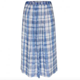 Paul Smith White & Blue Scribble Check Skirt