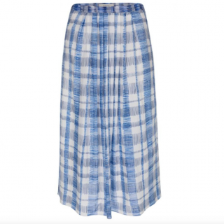 Paul Smith White & Blue Scribble Check Skirt