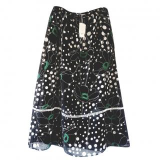 See by Chloe Linen Blend Floral Print Skirt