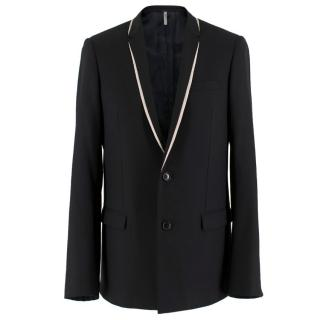 Dior Men's Black Single-breasted Blazer W/ White Trim