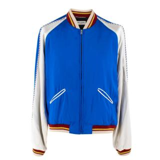 Saint Laurent Blue & White Satin Bomber as Worn By Keith Richards