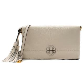 Tory Burch Cream Leather Foldover Cross-body Bag