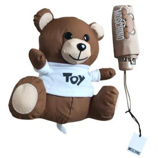 Moschino Beige Umbrella with Teddy Bear Case