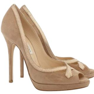 Jimmy Choo suede peep-toe pumps