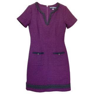 Karl Lagerfeld short-sleeved purple tweed dress