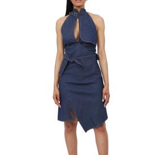Christian Dior keyhole-bust denim dress
