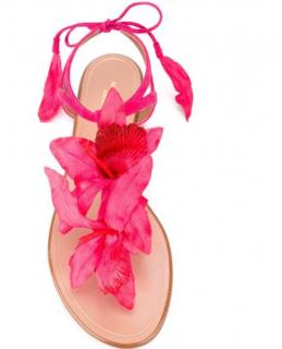 Aquazurra Pink Lace-Up Floral Sandals