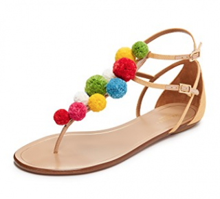 Aquazzura Pom Pom Flat Sandals