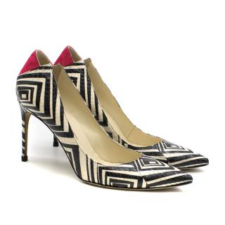 Brian Atwood Geometric Snake Skin Leather Pumps