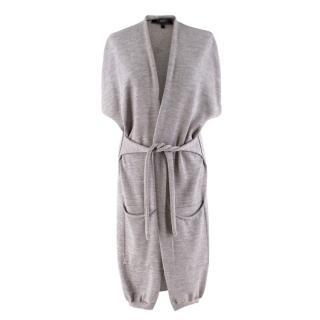 Weekend Maxmara Grey Sleeveless Wool Cardigan