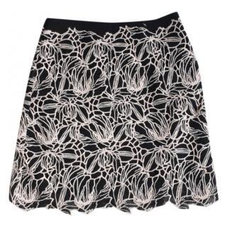 Giambattista Valli Black & White Floral A-Line Skirt