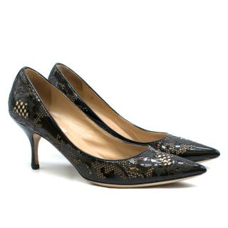 Valentino Garavani Black Patent Leather Lace Pumps