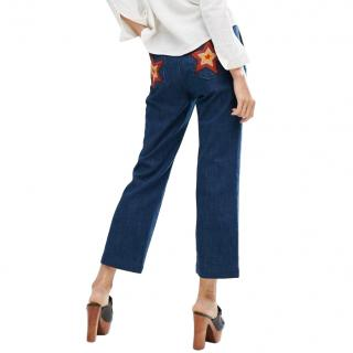 M.I.H Jeans Coler Flare With 70s Star Patch Pocket Detail