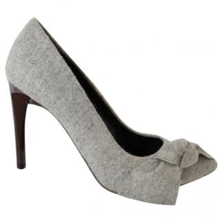 Proenza Schouler Grey Felt Bow Detailed Pumps