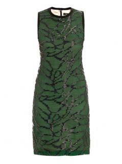 Marios Schwab Silk Green & Black Bead Embellished Dress