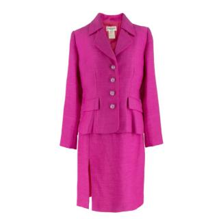 Yves Saint Laurent Vintage Pink Tweed Skirt Suit