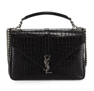 Saint Laurent Monogram College Large Crocodile-Embossed Shoulder Bag