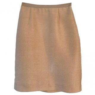 Marni tan silk blend textured skirt