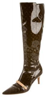 Louis Vuitton patent monogram long boots