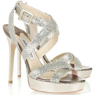 Jimmy Choo Vamp Lame Glitter Platform Sandals