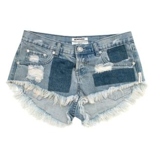 One by One Teaspoon Blue Frayed-trim Denim Shorts