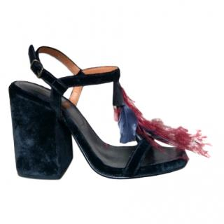 Dries Van Noten Belle feather-trimmed velvet sandals