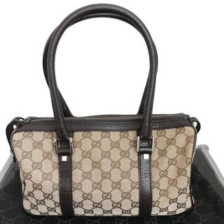 Gucci GG-canvas and leather-trimmed bag