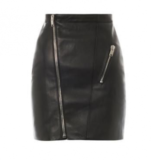 Saint Laurent Leather Asymmetric Zip Skirt