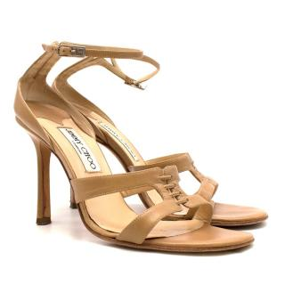 Jimmy Choo 100mm Nude Leather Laced Sandals