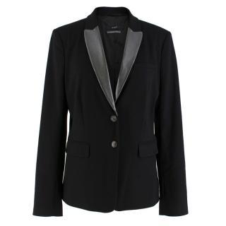 Oui Black Leather Lapel Blazer