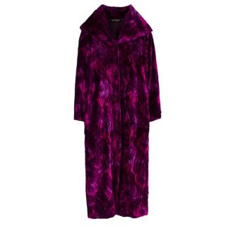 Collette Dinnigan Pink & Purple Oversized Velvet Coat