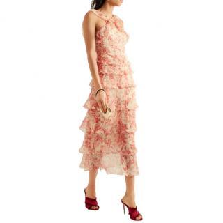 Vilshenko Giovanna tiered crinkled silk-chiffon midi dress