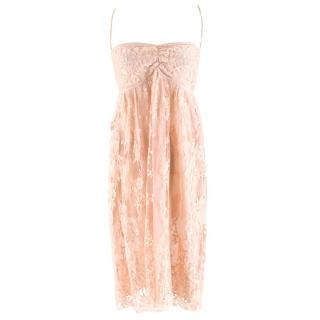 Rosamosario Nude Pink Lace Slip Dress
