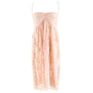 Rosamosario Nude Pink Lace Slip Dress
