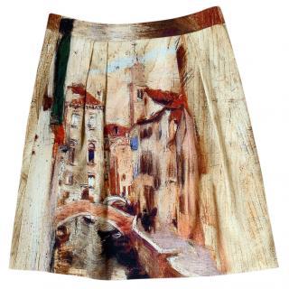 Alberta Ferretti Ventian Printed Skirt