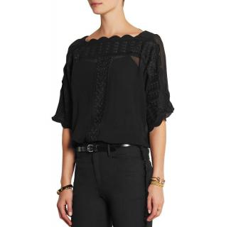 Isabel Marant Etoile axel embroidered georgette black top