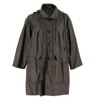 Eskandar Oversized Hooded Raincoat in Brown