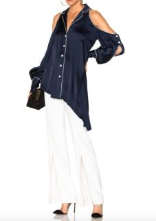 Jonathan Simkhai cold shoulder navy blouse