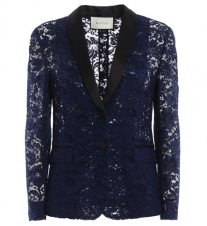 Gucci Navy Silk Tailored Lace Blazer