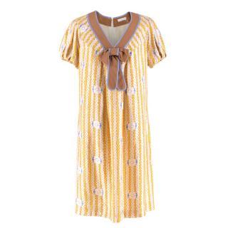 Cacharel Silk Multi-Coloured V-neck Bow-tie Dress
