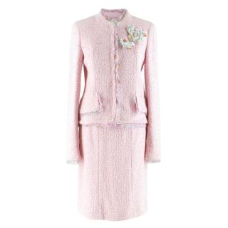Chanel Pink Tweed Skirt Suit W/ Ice Cream Print Trim & Camellia