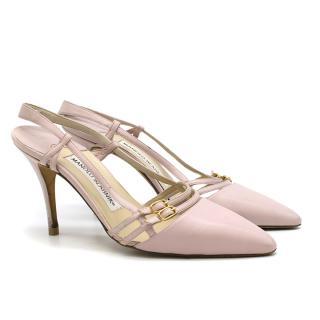 Manolo Blahnik Pink Buckle Detail Slingback Sandals