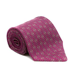 Hermes Purple Printed Silk Tie
