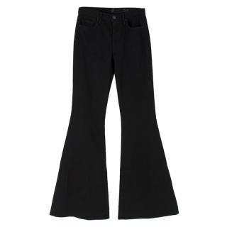 7 For All Mankind Black Cotton Bell-bottom Jean Trousers