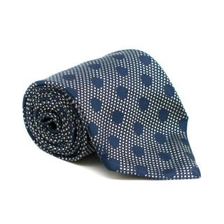 Lanvin Paris Navy Spotted Silk Tie