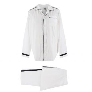 P.LeMoult White Men's Pyjamas W/ Black Trim