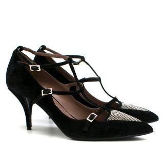 Tabitha Simmons Black Suede Embellished Pumps