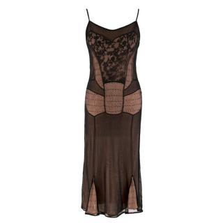 Christian Dior Boutique Black & Nude Lace Dress