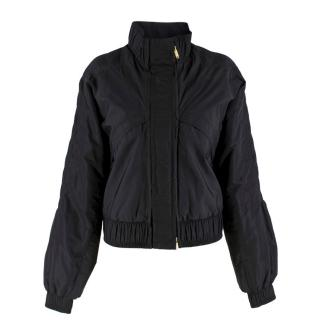 Gucci Black Padded Pleated Bomber Jacket