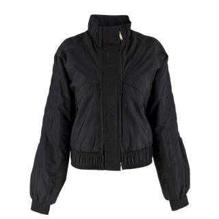 Gucci Black Padded Pleated Bomber Jacket